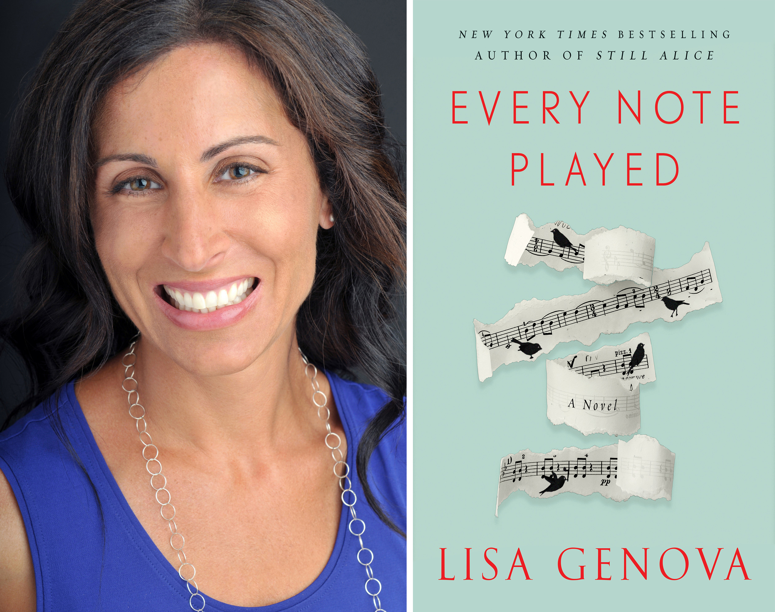 image of lisa genova next to her book