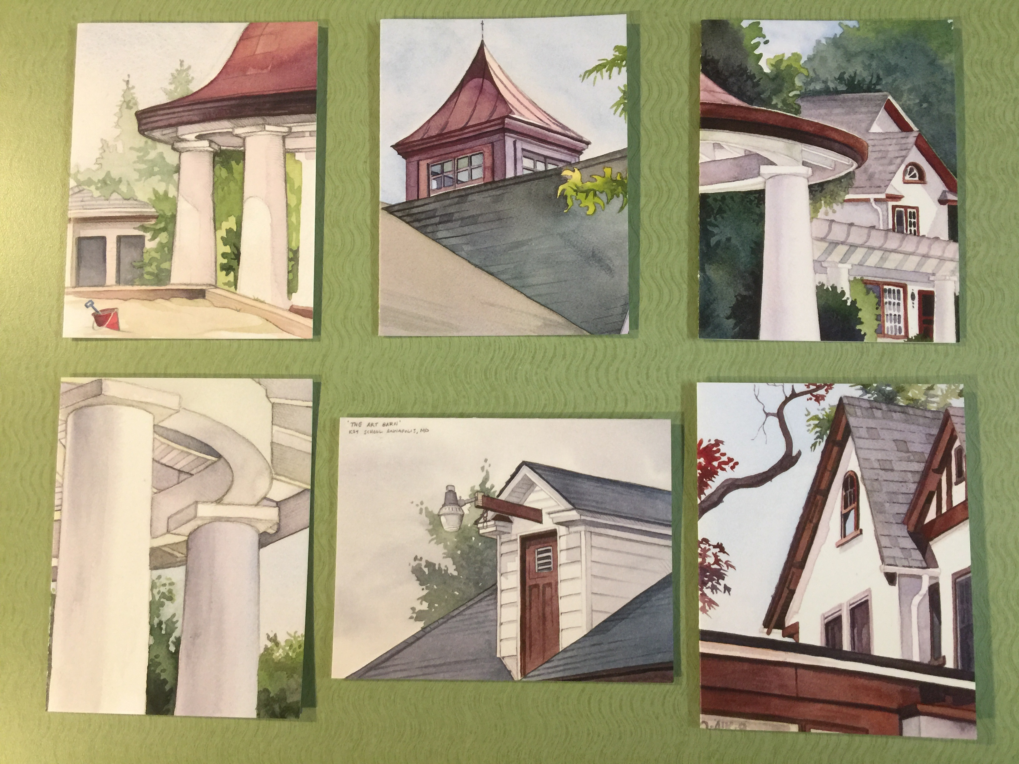 six postcards of Key's campus