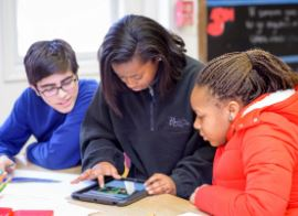 Students Collaborate Using Classroom Technology