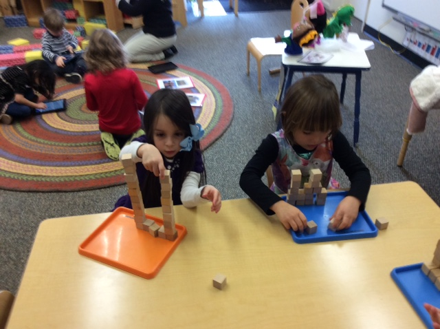 children using building blocks