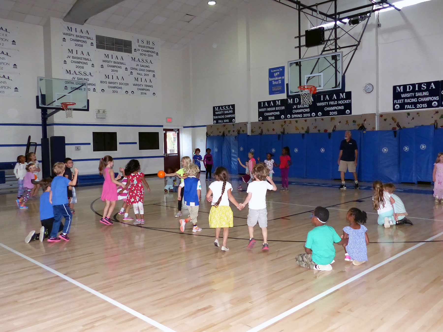 students exercising in gym