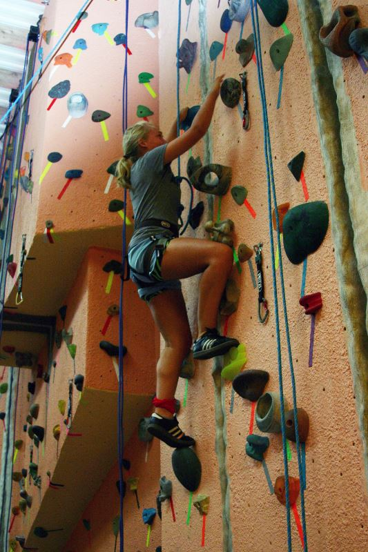 indoor rock climbing at summer camp
